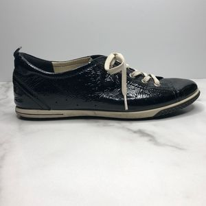 ECCO Spin Black Patent Leather Lace-up Sneakers